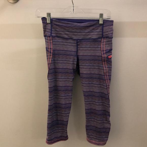 lululemon athletica Pants - Lululemon purple & pink stripe crops sz 6 68214